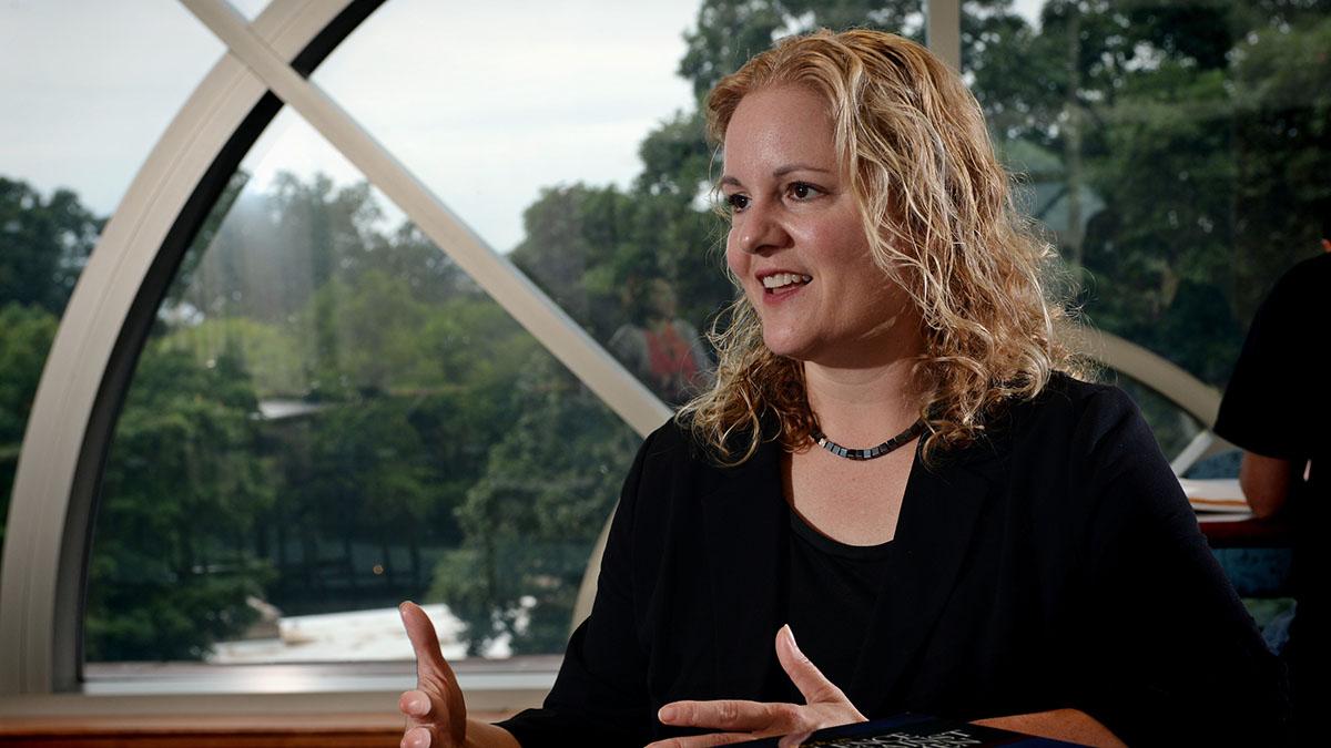 Rebecca Macy talks to an interviewer