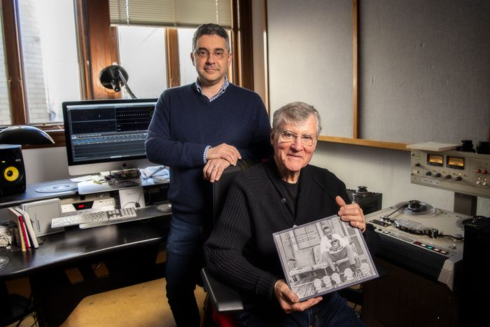 """Steven Weiss, left, curator of Carolina's Southern Folklife Collection, and retired folklife professor William """"Bill"""" Ferris look over the Grammy-nominated/winning box set containing music, stories, photographs and more from the massive William R. Ferris Collection."""