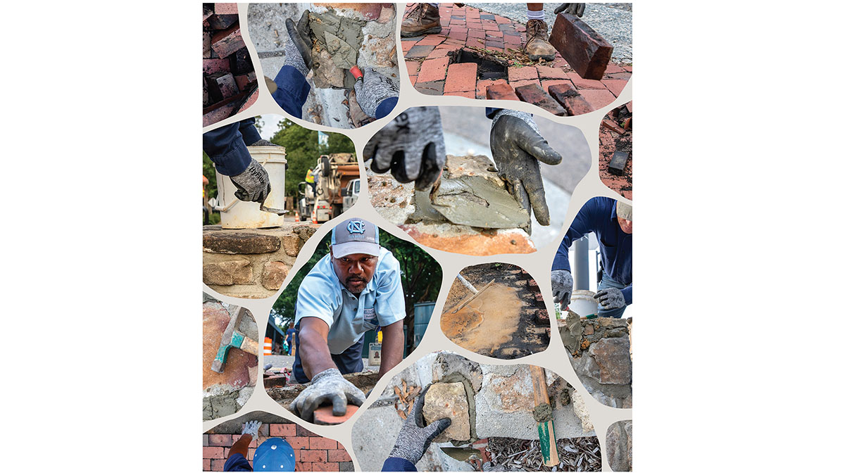 A collage of brick masons working