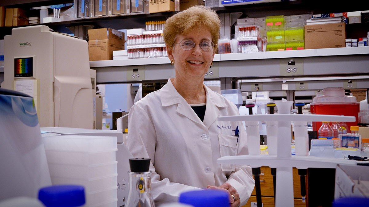 Kim Brouwer poses in her lab