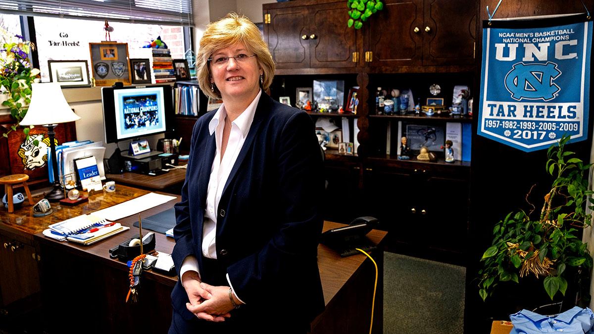 Deborah Hawkins poses in her office