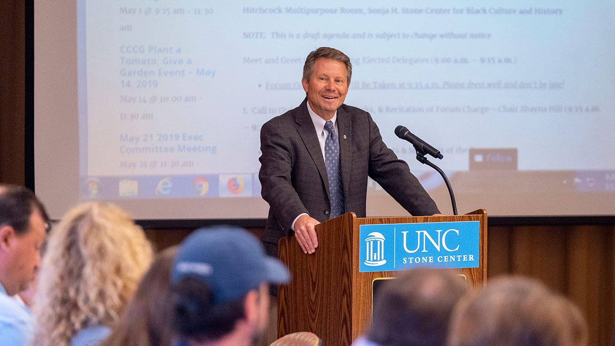 Interim Chancellor Guskiewicz speaks at Employee Forum