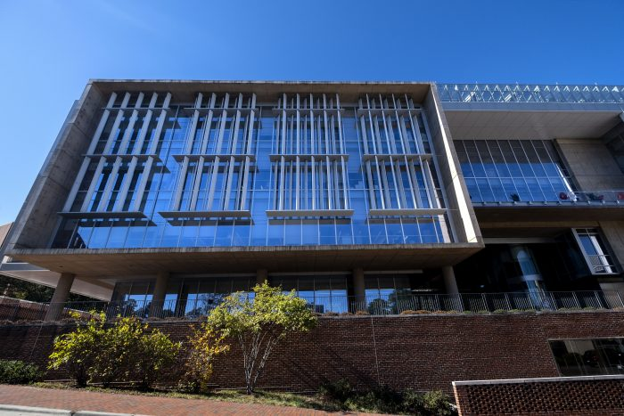 Exterior of UNC's Genome Sciences Building.