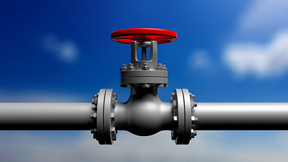 Image of a pipeline with valve on top.