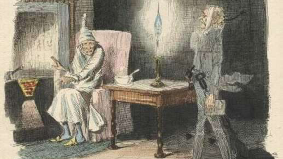 An illustration from the first publication of A Christmas Carol in 1843 shows Marley's ghost visiting Scrooge.
