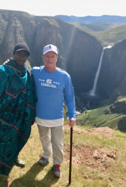 Jim Kitchen with shepherd in Lesotho.