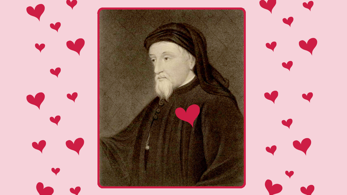 Chaucer on a Valentine's Day background