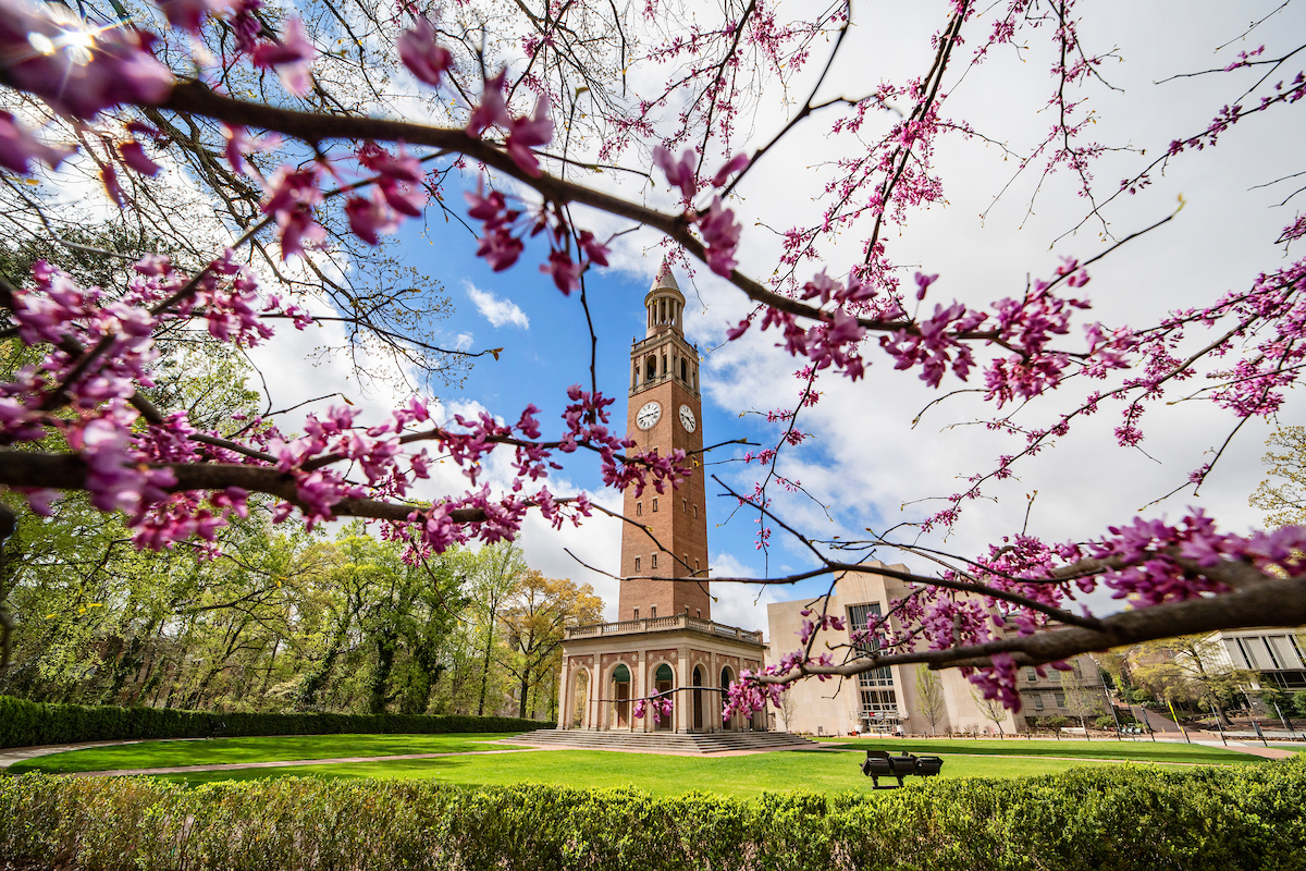 This shot of the Bell Tower in spring, taken March 25, shows how empty campus has become since COVIDS-19. (Johnny Andrews/UNC-Chapel Hill)