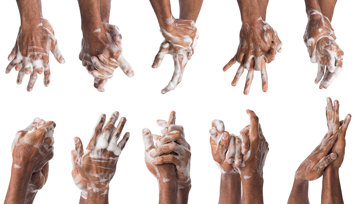 Image showing hands washing with sudsy soap and water.