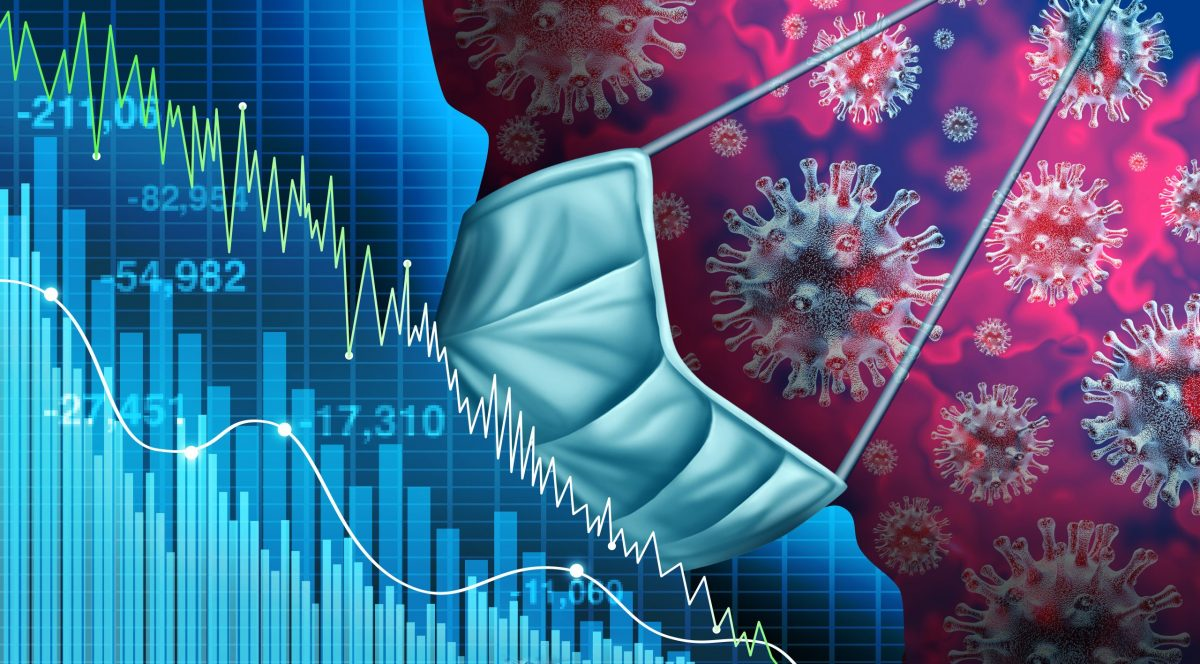 illustrations showing stock graph going down with mask covering 3D illustration face with coronavirus cells