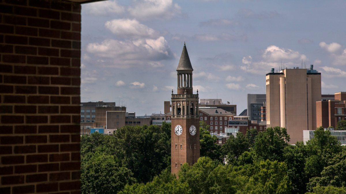 The Bell Tower, as seen from a studying room at Davis Library on June 15, 2017, on campus in Chapel Hill. (Johnny Andrews/UNC-Chapel Hill)