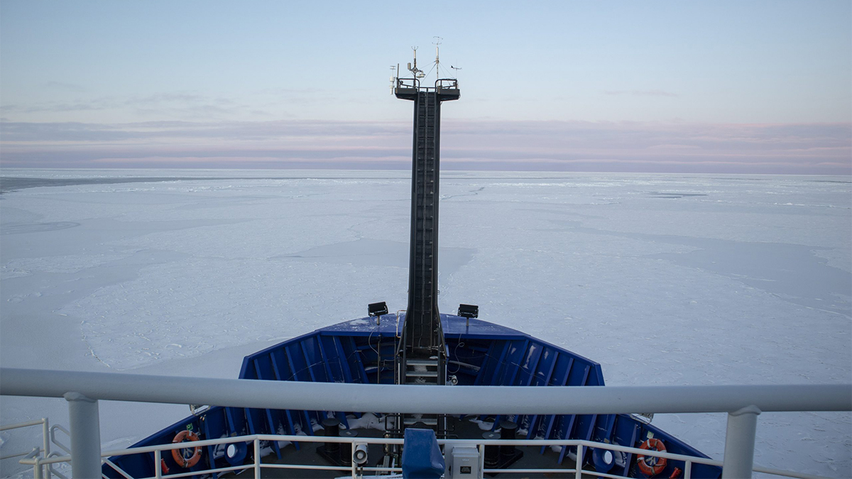 Emily Eidam's view from the National Science Foundation's Arctic Sikuliaq research vessel. Courtesy/Emily Eidam.