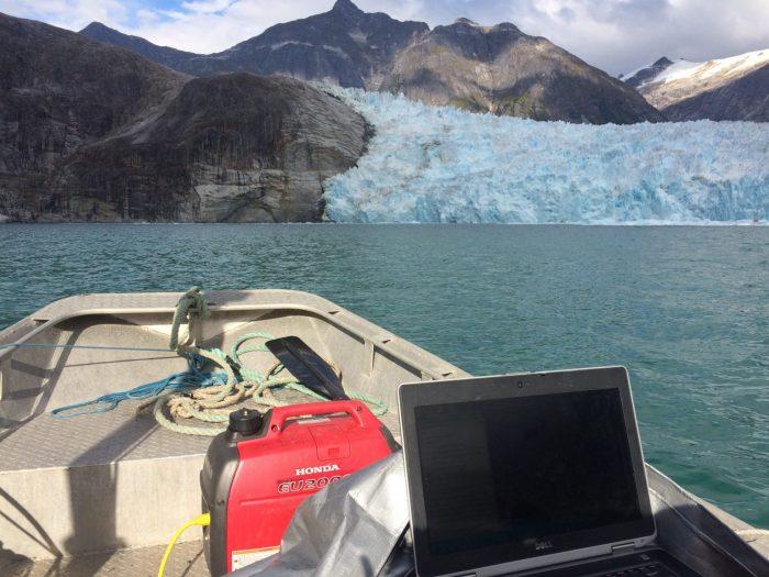 Eidam's workspace in LeConte Bay, Alaska. Courtesy/Emily Eidam.
