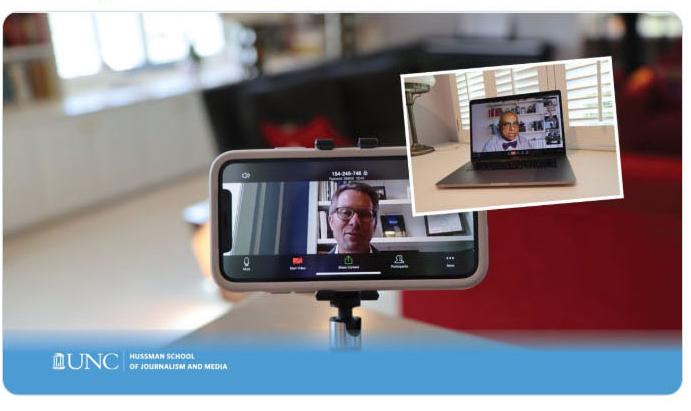 screenshot of Chancellor Guskiewicz in videochat with Professor Deb Aikat.