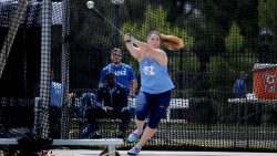 Jill Shippee doing the hammer throw