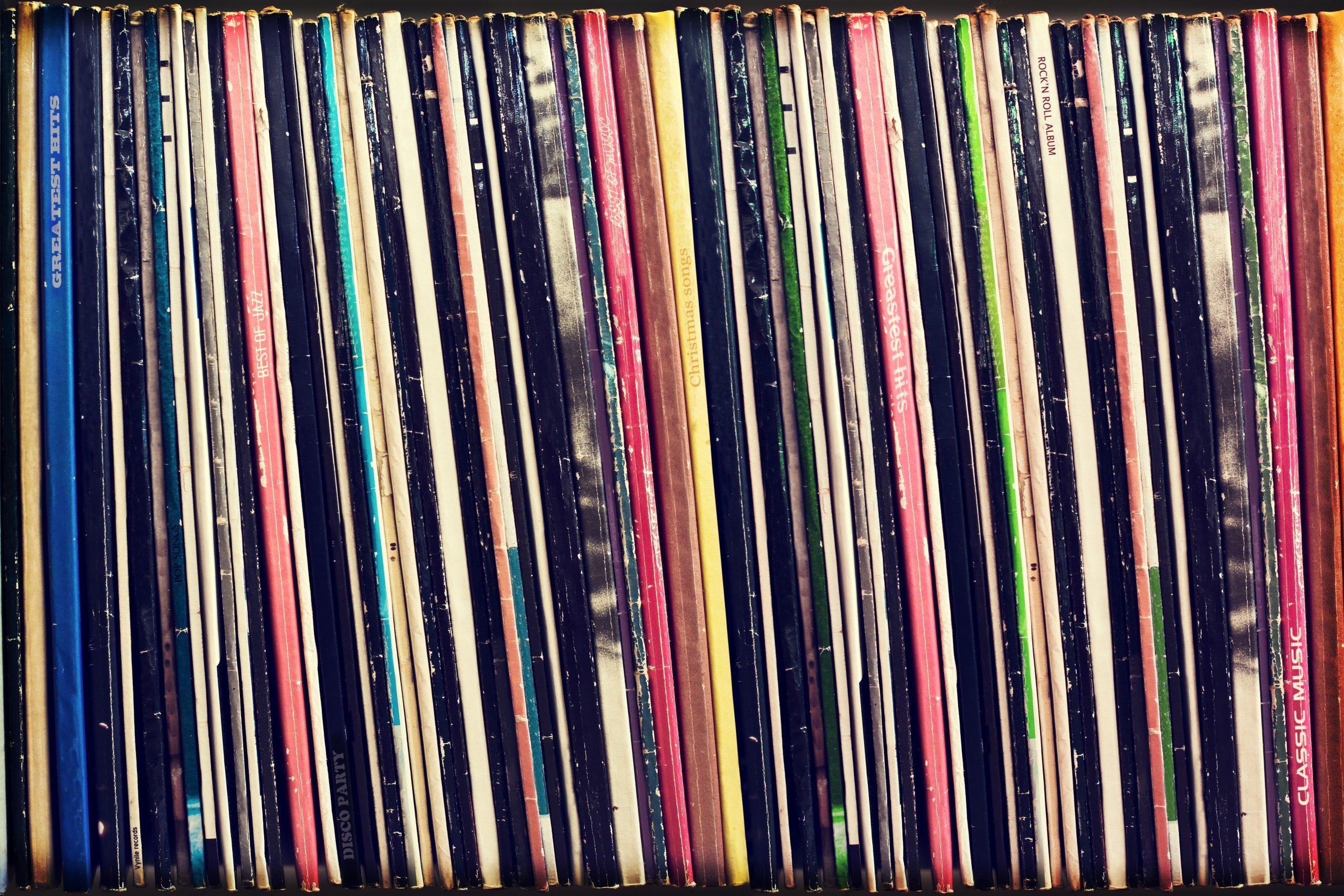 Album covers on a shelf