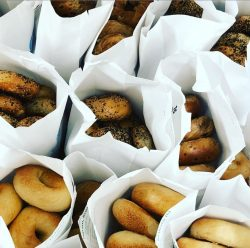 Fresh Brandwein's bagels packed for contactless delivery to customers (Photo courtesy of Brandwein's Bagels)
