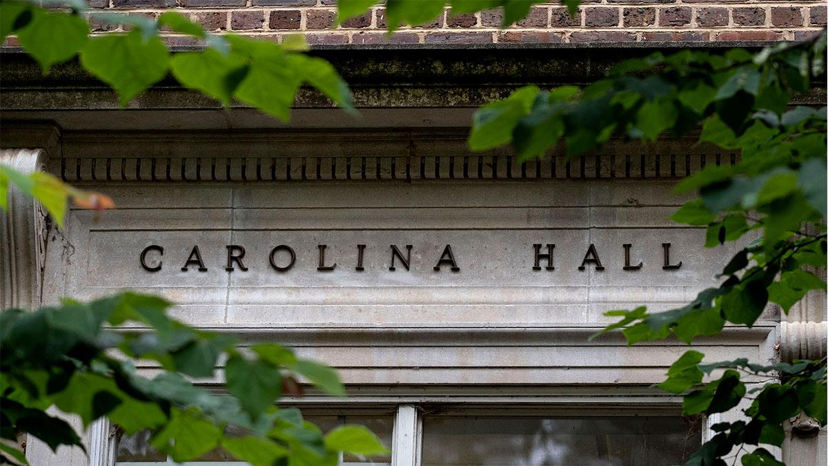 Carolina Hall name above a doorway.