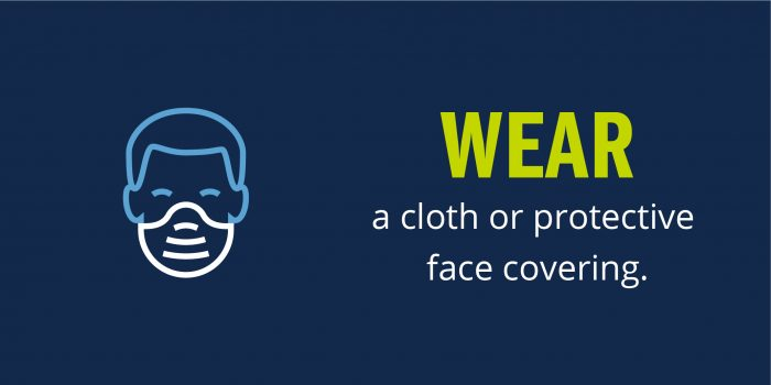 Graphic of person wearing a mask with text: wear a cloth or protective face covering.