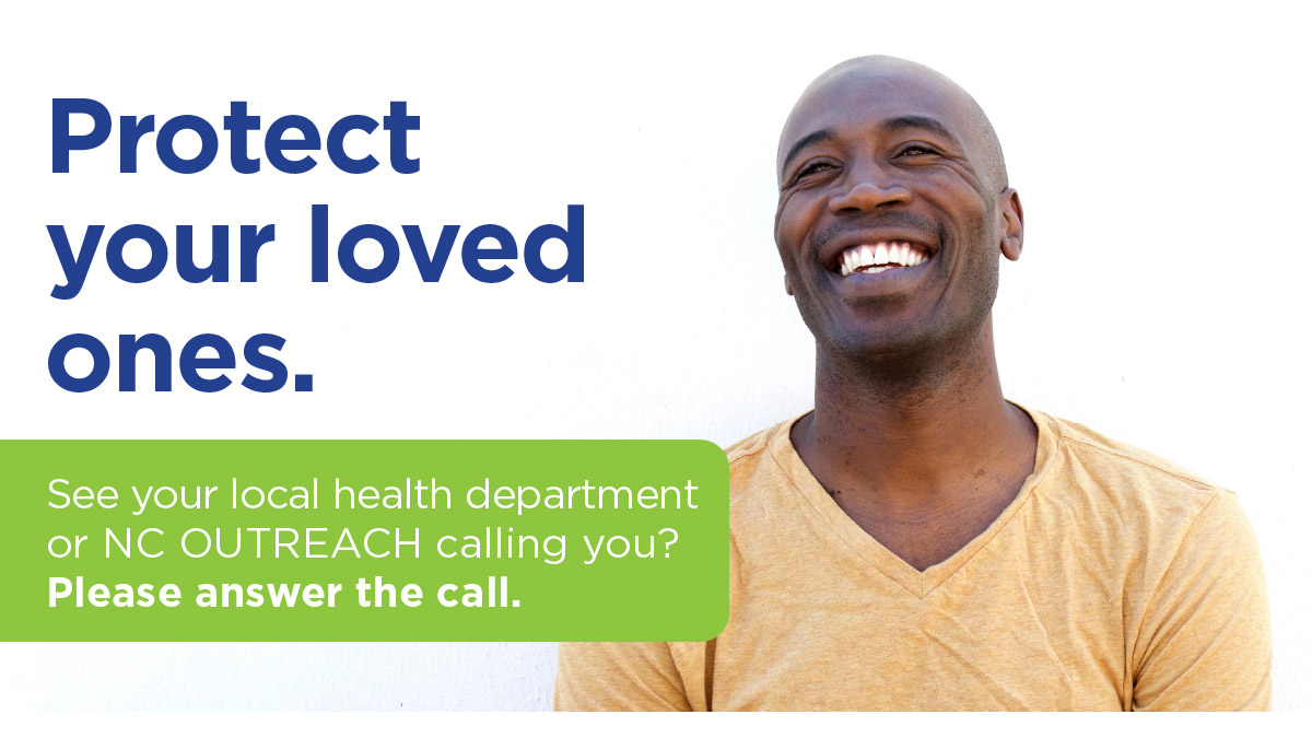 Public-service message showing text and smiling African American man.