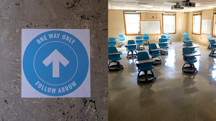 signage and physically distanced desks