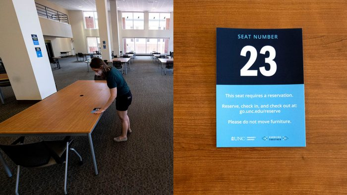 Library tables and close-up of seating reservation number.