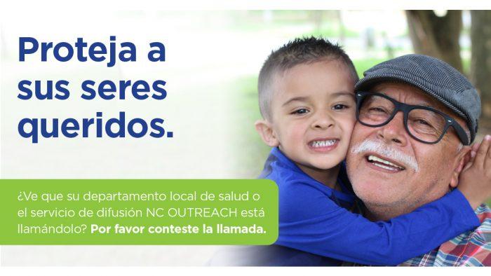 Public service ad showing grandfather hugging grandson.