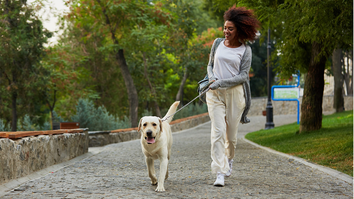 A woman walking her dog outside.
