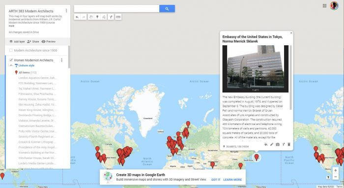 JJ Bauer's students are working together to expand an extensive online Google map that highlights works by architects since 1900.