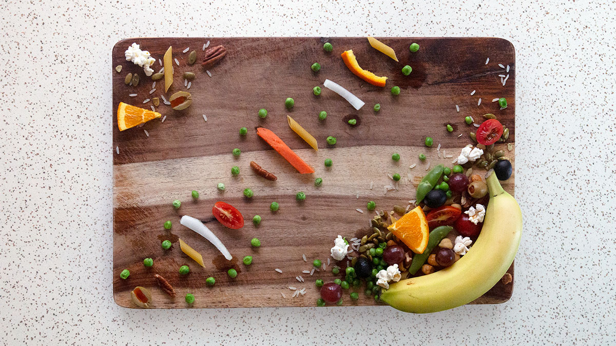 Fruits and vegetables on a cutting board
