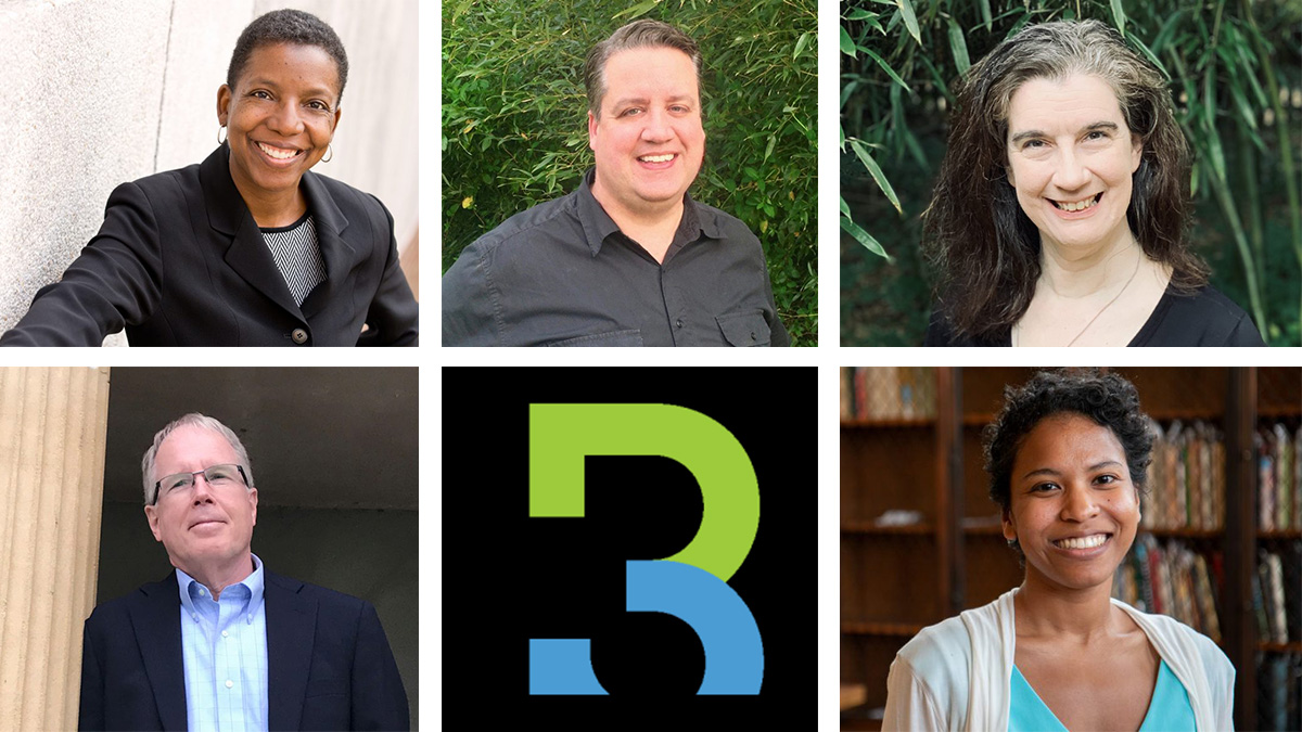 Panelists at the R3 symposium were, clockwise from top left, Donna Nixon, Brandon Bayne, Laura Hart, Sonoe Nakasone and James Leloudis.