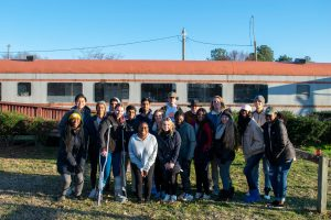 Students in Glenn Hinson's spring 2020 class at the site of the gun fight that led to the jailing of the Norlina 18. (photo by Hannah Evans)