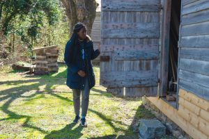 """Spring 2020 first-year student Evelyn Moses from the """"By Persons Unknown"""" class at Cherry Hill Plantation. (photo courtesy of Glenn Hinson)"""
