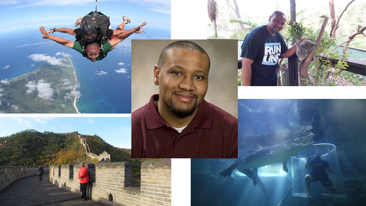 Headshot of Teasdale in the middle of 4 images of Teasdale: petting a Koala, submerged in a tank with an alligator, standing on the Great Wall of China and tandem skydiving.