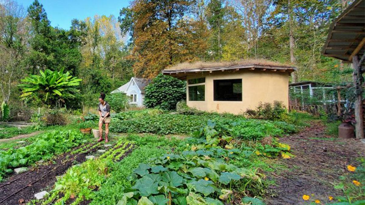 "Chérie Rivers Ndaliko on her Orange County, North Carolina, ""freedom farm,"" Uzuri Sanctuary. (photo courtesy of Cherie Ndaliko)"