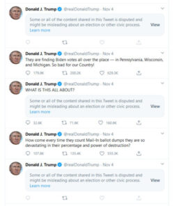 Series of Tweets and retweets from President Trump.