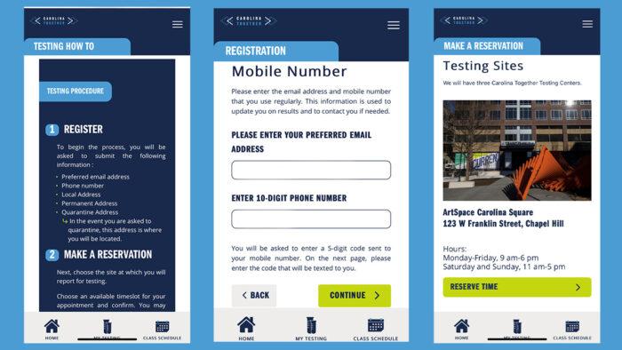 Screenshots from the HallPass application