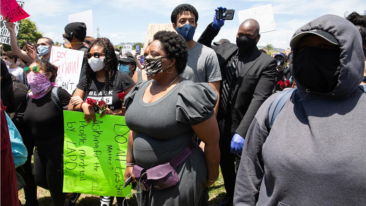 Patrisse Cullors at a Black Lives Matter march.