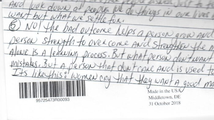 snapshot of part of a letter written from prison.