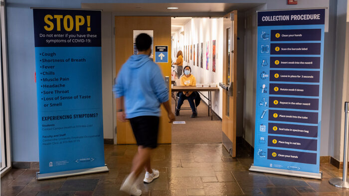 UNC-CH COVID testing location at Frank Porter Graham Student Union on the campus of the University of North Carolina at Chapel Hill. January 11, 2020.