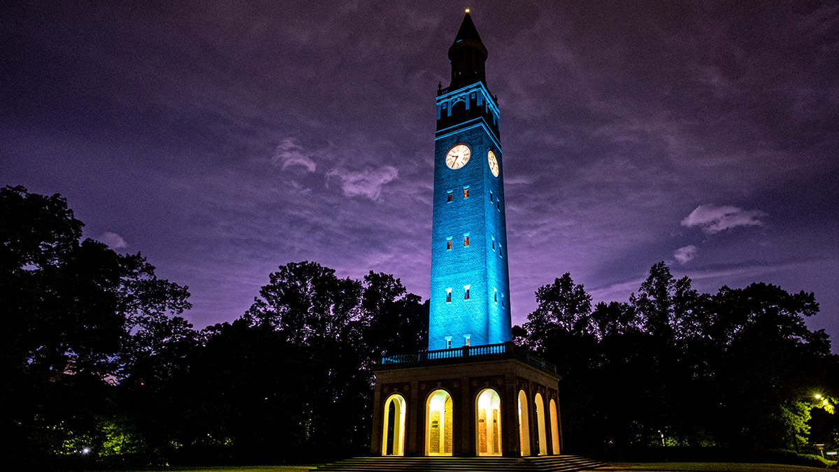 Bell Tower with blue lighting