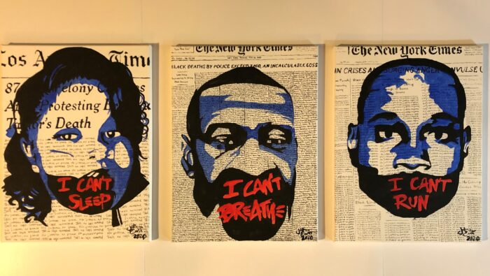 """This is a three panel series I started in June and finished in September about the murders of Breonna Taylor, George Floyd, and Ahmaud Arbery, inspired by a protestors t-shirt. The news articles in the backgrounds of Taylor and Arbery repeat, """"No justice, no peace,"""" while the background of Floyd replicates the Incalculable Loss Project that Adrianne Benzion and Jessica McEwan released in May of 2020, replacing the NY Times front page illustrating deaths from COVID-19 with the names of black Americans who were killed by police violence; three panels, 16x20 each acrylic on canvas"""