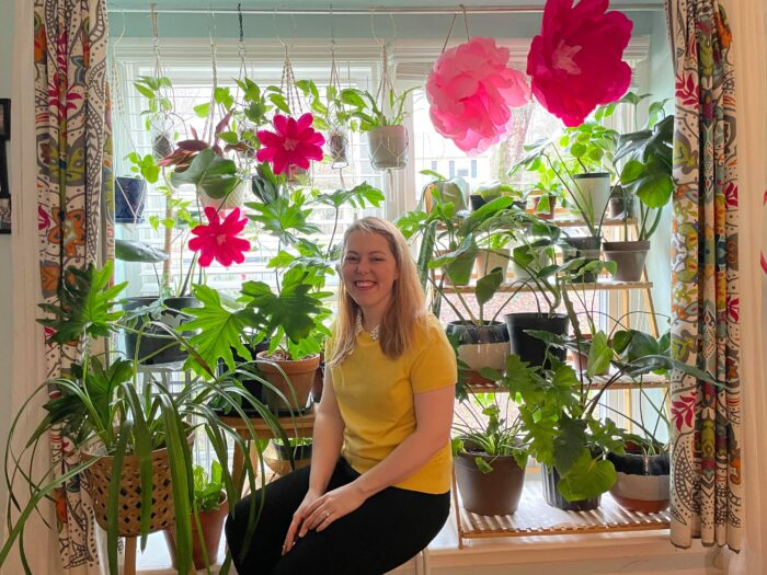 Christina Riegel has been growing more greenery and making decorations for the wedding she had to postpone because of the pandemic.