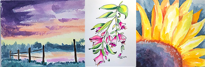 watercolors of a fend, pink flowers and a sunflower