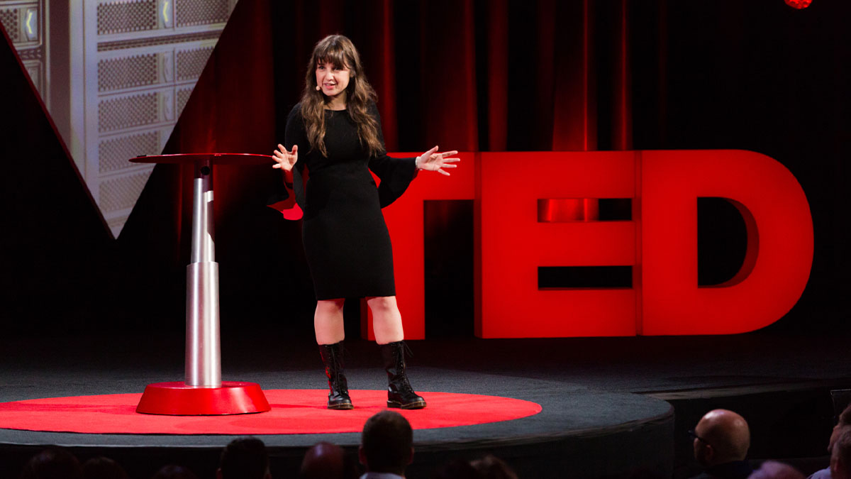 Zeynep Tufekci on the TED Talk stage.