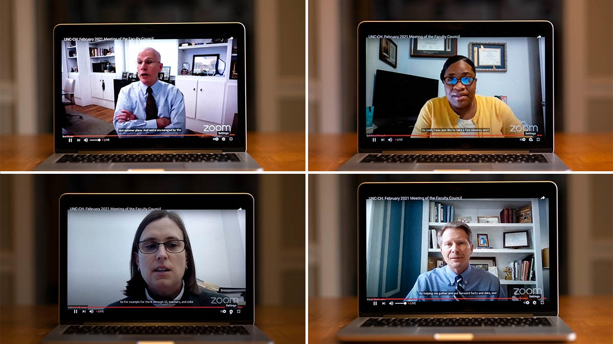 four speakers on a zoom call