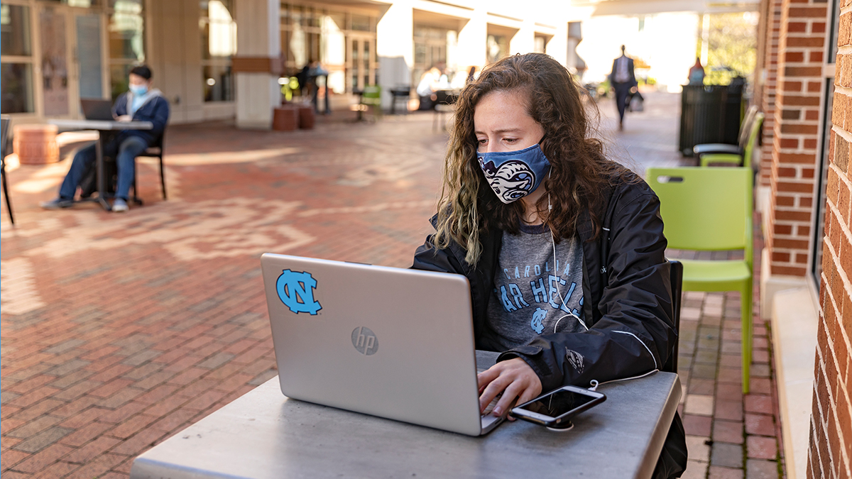 Scenes featuring students studying on the campus of the University of North Carolina at Chapel Hill on February 9, 2021. (Johnny Andrews/UNC-Chapel Hill)