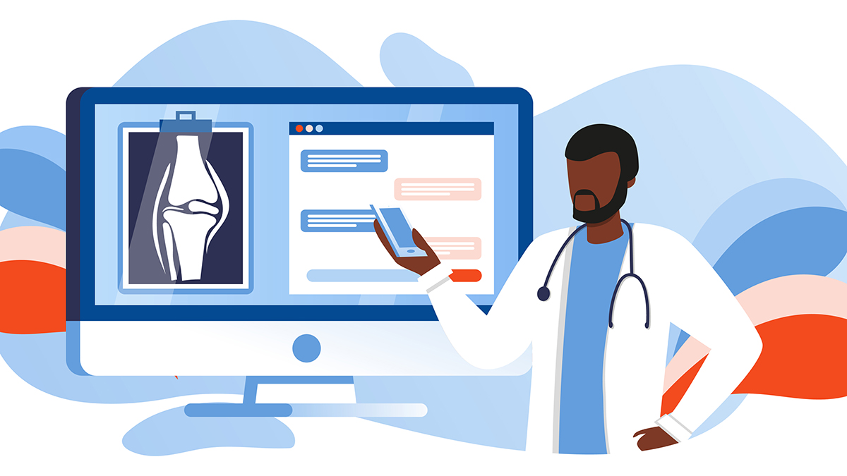 Illustration showing a doctor looking a digital screen with an image of a knee joint on it.