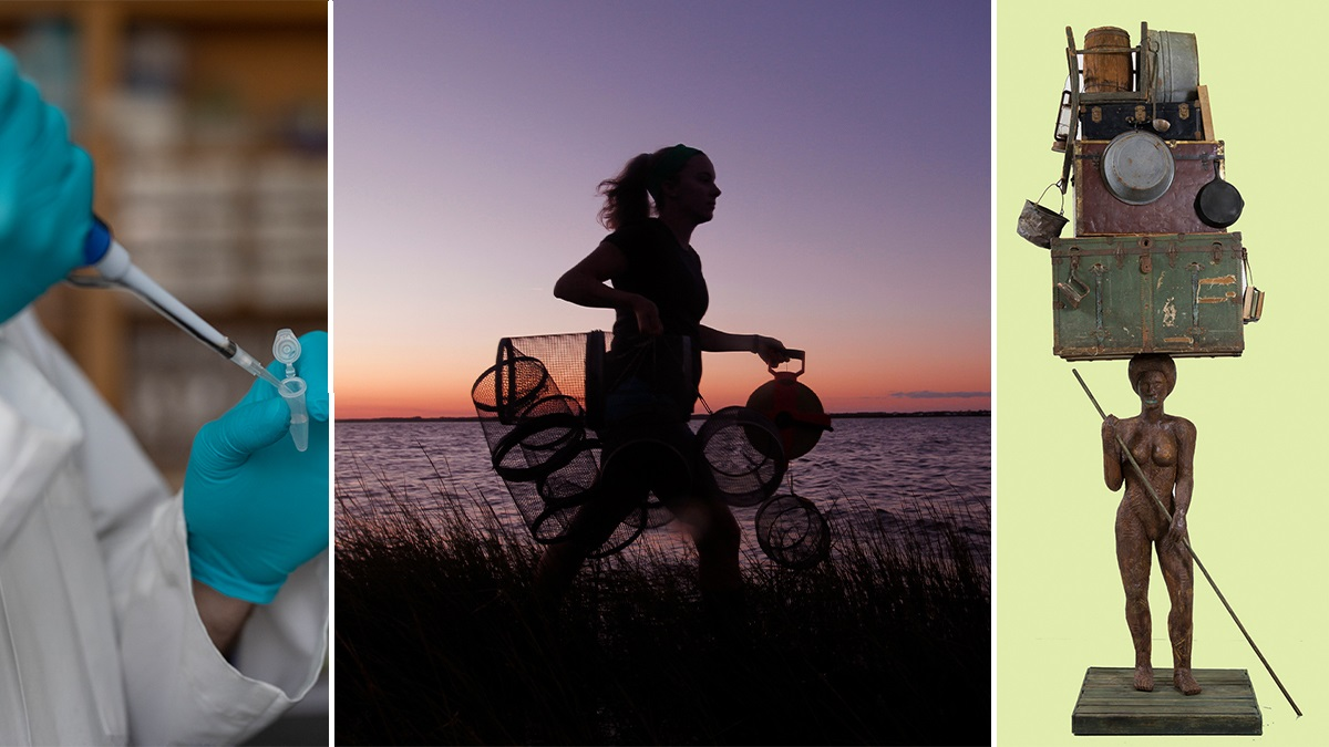 photo collage featuring a close-up of lab scientist's hands as he pipettes liquid into a tube; woman carrying crab traps in a marshy area at dusk; a sculpture of a person with a load of cargo on her head.