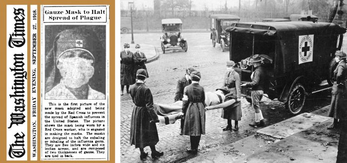 Left: A September 1918 newspaper clipping from The Washington Times shows a new double-layer gauze mask created by an American Red Cross worker to prevent the spread of Spanish influenza. Right: American Red Cross workers remove a flu victim from their house in St Louis, Missouri. (photos from Wikimedia Commons)